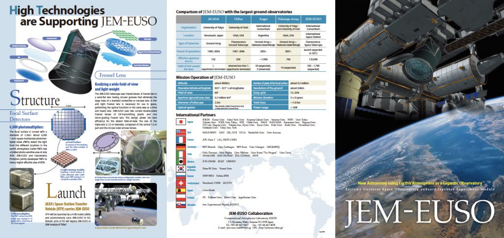 JEM-EUSO pamphlet outside
